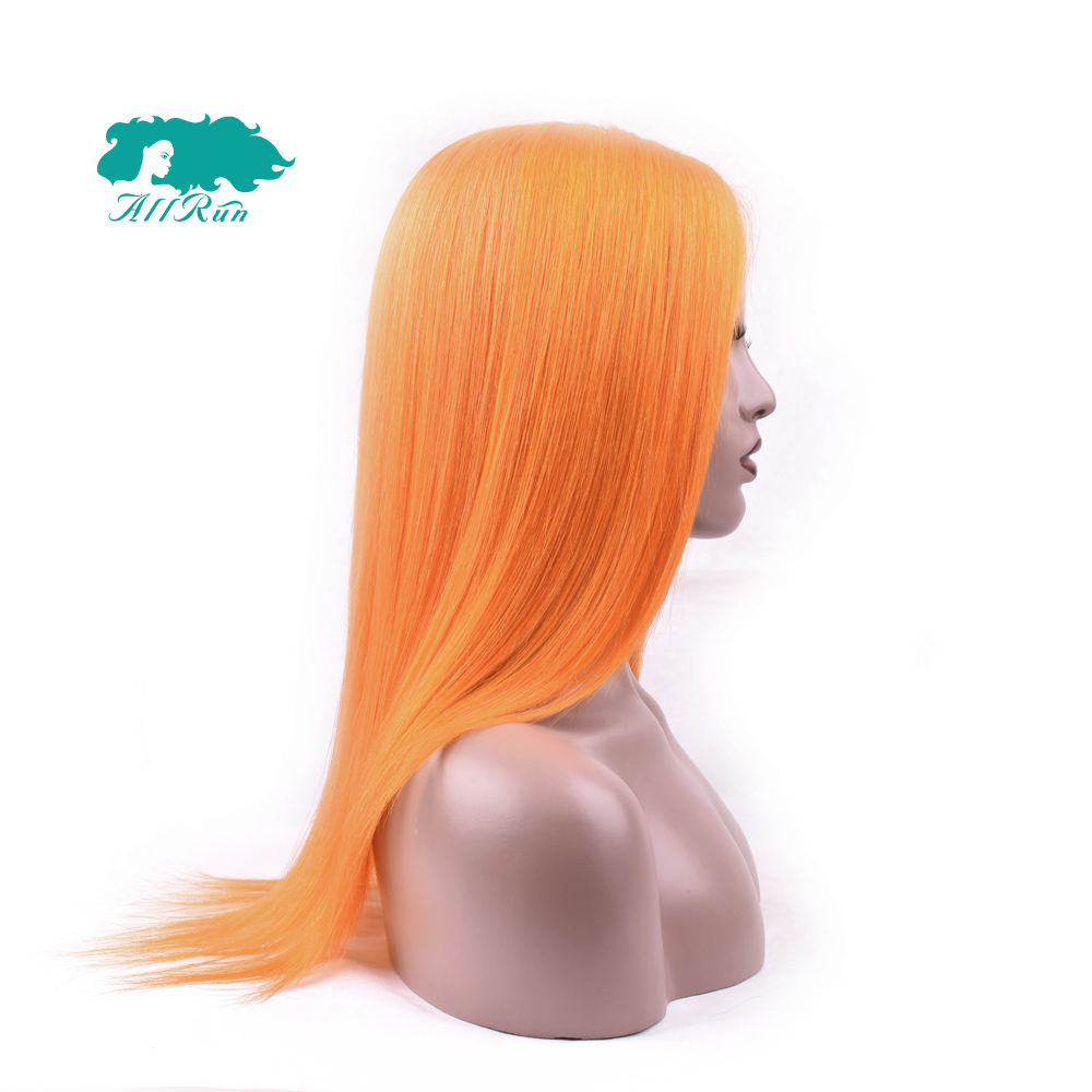 Allrun Peruvian Straight Lace Front Wig Pure Orange Color Human Hair Wigs Pre-Colored 10-22 130% Lace Front Remy Hair Extension