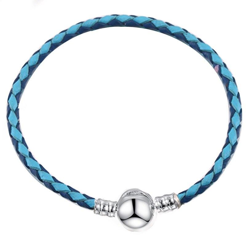 BAOPON, Прямая поставка, высокое качество, 9 цветов, кожаная цепочка, браслеты с подвесками, сделай сам, прекрасный браслет для женщин, девушек, ювелирное изделие, подарок - Окраска металла: Blue 2