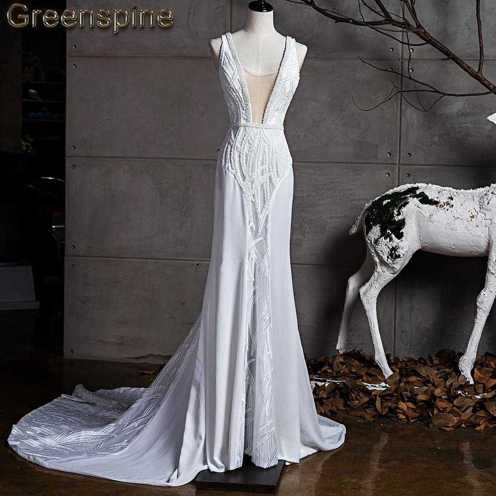 Greenspine Hi End 2018 New Fashion Backless Wedding Dress