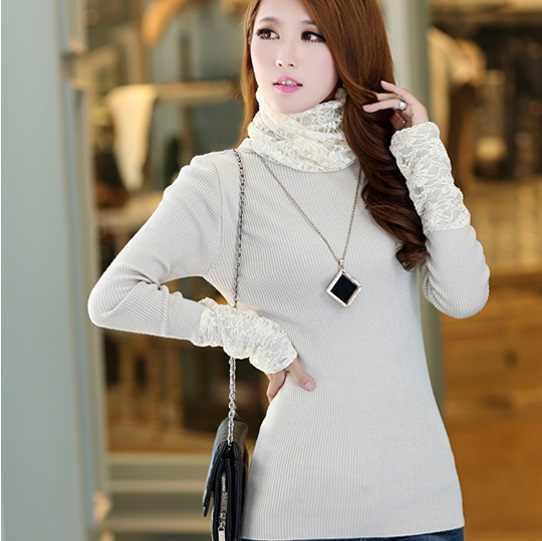 Осенне-зимний женский свитер средней длины с длинным рукавом, водолазка для женщин, кружевной воротник, кулачная водолазка, Базовая рубашка