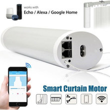 Alexa WIFI APP control silent quality S track autoatic curtain track home used motorized curtain(China)
