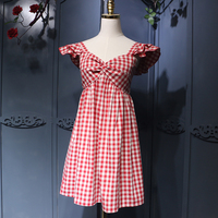 Casual Holiday Style Young Women A Line Fly Sleeve Chechers Short Dress High Waist Sexy Backless