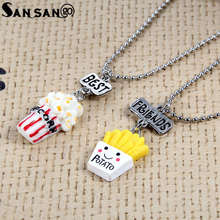 Chain Necklace Resin Pendants Best-Friend Alloy-Bead Lovely for Gift Food-Popcorn Imitation