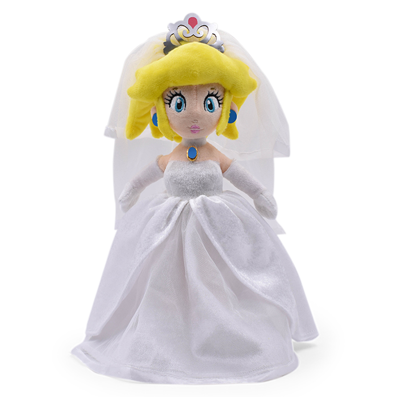 33CM Super Mario Odyssey Wedding Dress Princess Peach Soft Plush Toys Baby Girl's Gift
