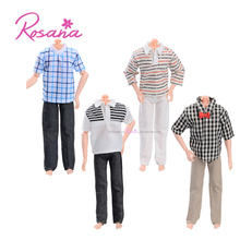 Rosana Handmade 4 Boy Short Shirts +4 Pairs Jeans Pants Casual Summer Wear for Barbie Boy Friend Ken Dolls Accessories Suit Gift
