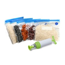 2 Groups Vacuum Food Storage Bags With Pump Sealing Clips Reusable Packages Kitchen Organizer Specialty Tools