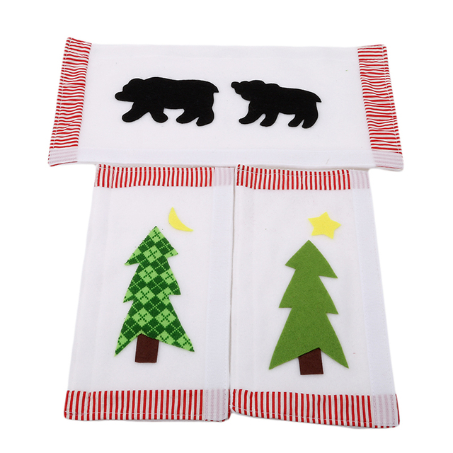 3pcs set christmas decoration kitchen refrigerator microwave oven door cloth covers black bears stars pattern