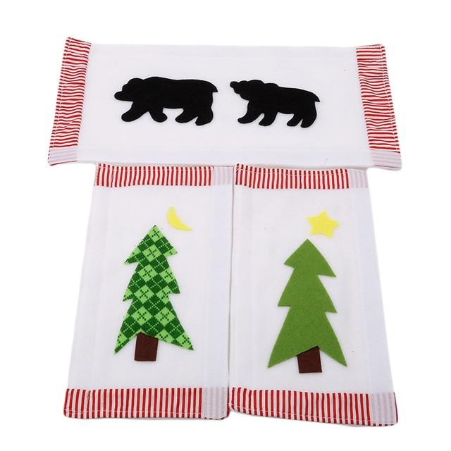 3pcs set christmas decoration kitchen refrigerator microwave oven door cloth covers black bears stars pattern - Black Bear Christmas Decor