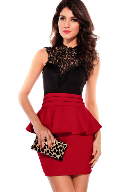 795dbfd2022 Entrancing Hollow-out Back Peplum Dress Red Black Free Shipping LC2710