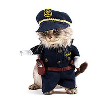 Gomaomi Pet Costume Policeman Style Dog Jeans Clothes Cat Funny Apperal(China)