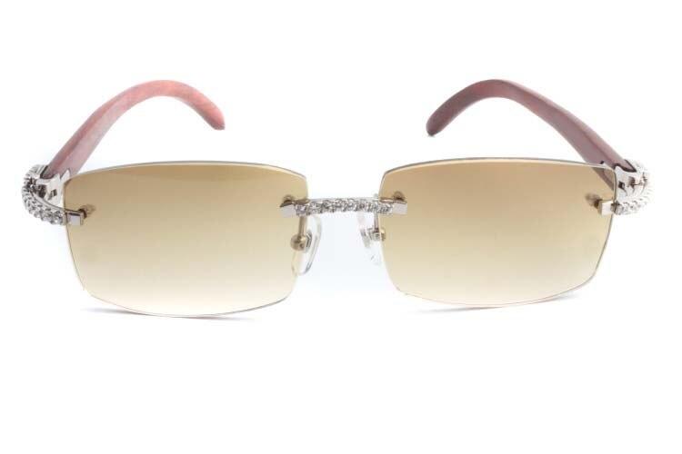 Cartier 3524012 New Diamond Wood Sunglasses Silver (2)