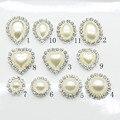 Hot sales10pc ivory pearls rhinestones buttons metal wedding Invitations decorate button trinket hair flower center scrapbooking