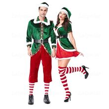 Laipelar Christmas Couple Cosplay Costume Green Elf Set Day Party Role Playing Luxury Velvet Dress Clothes