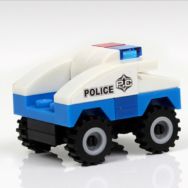 D960 Free shipping hot selling Childrens educational toy building blocks assembled fight inserted small police patrol car gift