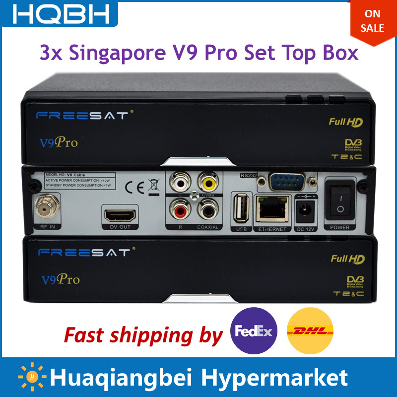 3PCS of Singapore HD TV Set Top Box V9 Pro V8 Golden Replace ICAM CCCAM Box Supports WIFI Youtube Receives CH227 CH855