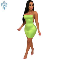 Ameision Summer Sexy Club Party Dress Women 2019 Spaghetti Straps Backless Satin Dress Neon Green Mini Bodycon Dress Neon Pink
