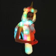 ผู้หญิงผู้ใหญ่ของขวัญเซ็กซี่ชุด LED หมวกขนสัตว์ Faux สัตว์ Unicorn หมวกสัตว์ที่อบอุ่นผ้าพันคอ Party Novelty คอสเพลย์