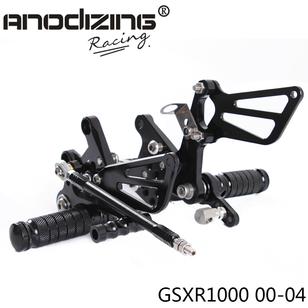 Full CNC Aluminum Motorcycle Adjustable Rearsets Rear Sets Foot Pegs For SUZUKI GSXR1000 2000 2004