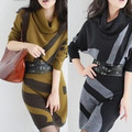 New fashion long-sleeve winter dress cashmere woolen sweater  one-piece dress Plus Size sweater dress with belt