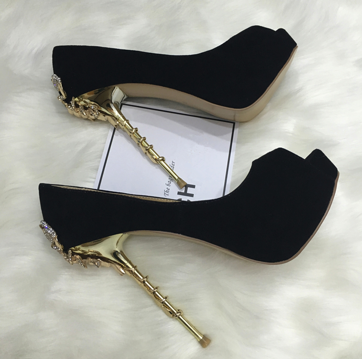 Black Suede Leather Women Sexy Peep Toe Pumps Crystal Scorpion Heel Ladies Fashion High Heels 14CM Party Stiletto High Platform