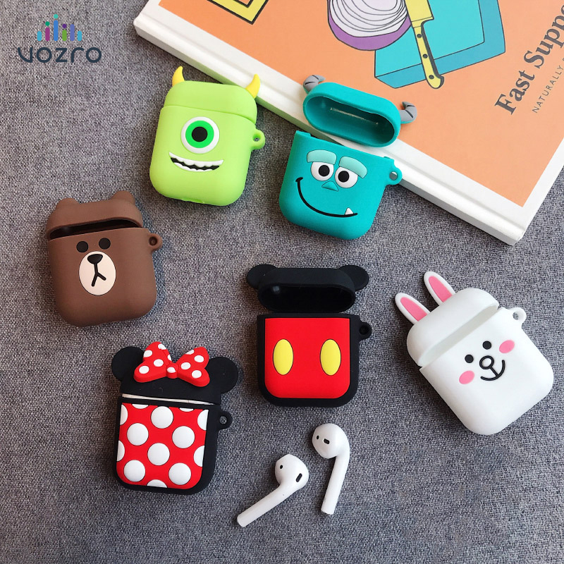 VOZRO Cartoon Wireless Bluetooth Earphone Case For Apple AirPods Silicone Charging