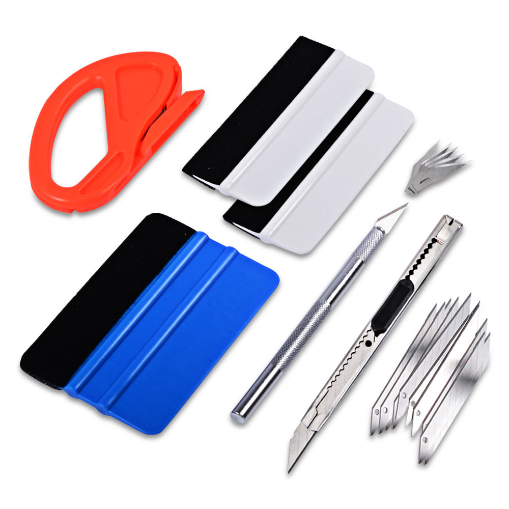 EHDIS Window Tint Tools Kit Carbon Fiber Foil Film Car Stickers Vinyl Car Wrap Tools 3M Squeegee Cutter Knife Car Accessories