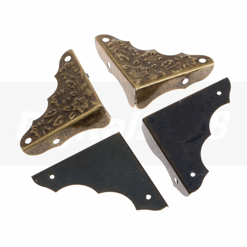 Hot New 12pcs Iron Antique Brass Corner Brackets Jewelry Wine Gift Box Wooden Corner Protector Guard