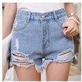 Nuevo agujero moda Street Punk Rock Vintage Ripped Jeans Denim Retro Sexy cintura alta mujeres Shorts mujer
