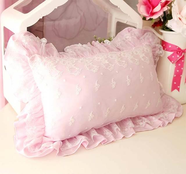 Princess cute pink decorative throw cushions cover girl adult,european cotton lace ruffle pillow case sham for sofa bed seat car
