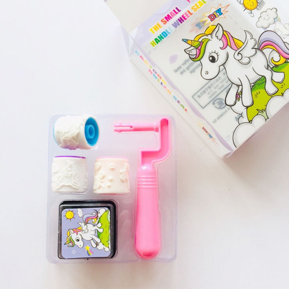 1 SET Unicorn Handle Wheel Roller Seal Stamp With Inkpad Diary DIY Stamp Set Student Prize Promotional Gift Stationery