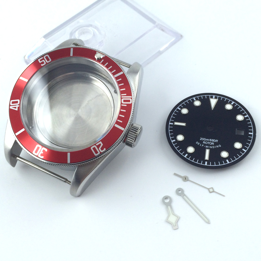 41mm sapphire cystal Watch Case dial hand fit ETA 2824 2836 miyota 8215 MOVEMENT цена и фото