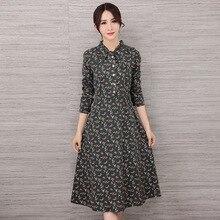 Vestidos Army Green Синий Плюс Размер Женщин Осень С Длинным Рукавом ретро Случайный Участник Халат Цветок Цветочный Принт Лук Шеи Тонкий платья