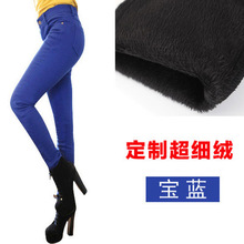 Autumn and winter women  velvet thick  pencil pants lady leggings pants women plus size cotton warm feet trousers 25-40