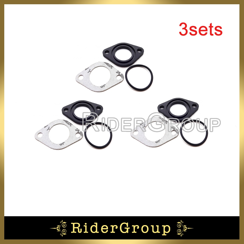Vervoering 3 Sets Spruitstuk Carb Intake Pijp 25mm Pakking Spacer Seal Voor 110cc 125cc 140cc Motor Xr50 Crf50 Ssr Pit Dirt Bike Chinese
