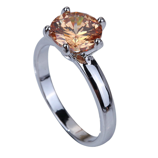 Romantic valentine's day  Engagement Champagne Morganite Silver Ring Size 6 7 8 9 10 11 12 13 Fashion Jewelry unisex wholesale