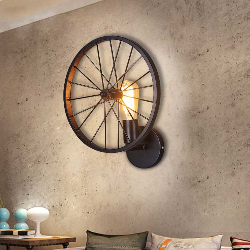 Vintage Ameican Country Industrial Personally Loft Vehicle Wheel Iron Edison Wall Sconce Lamp Bar Restaurant Home Decor Lighting loft vintage industrial american country water pipe edison led single wall sconce lamp mirror bar home decor lighting fixture