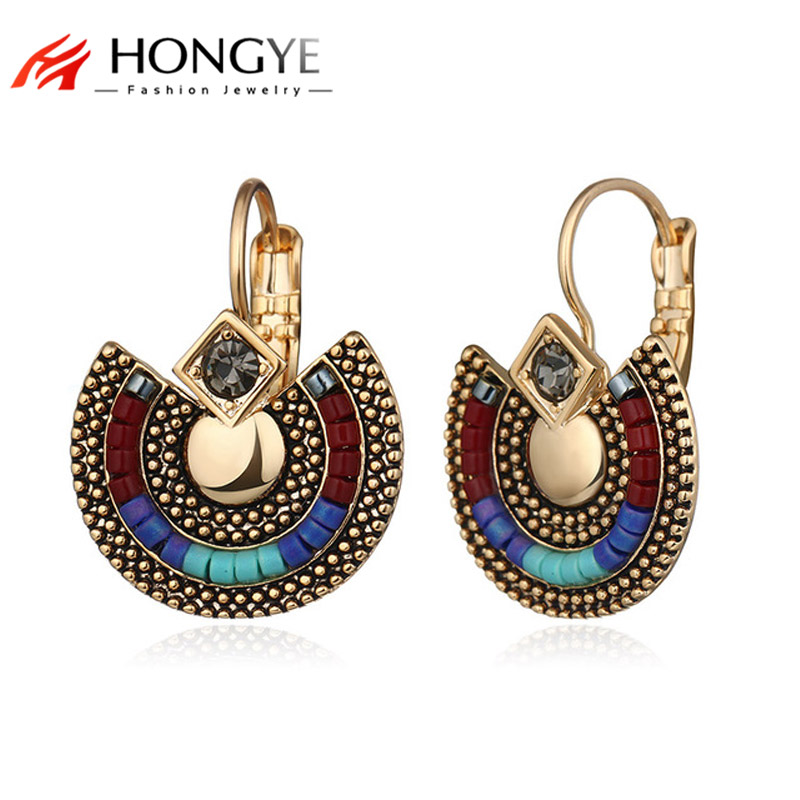 HONGYE New Summer Boho Multi Color Crystal Rhinestone Beads Drop Earrings Pendientes Ears Ethnic Women Vintage Jewelry