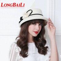 Fashion Camellia Black Woolen Bucket Hats For Women Chapeu Feminino White Floral Formal Felt Fedoras WMDW029