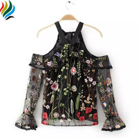 Stylish Floral Embroidered Blouse Tops 2017 Summer Halter Off Shoulder Sexy Perspective Mesh Women Blouses Shirts