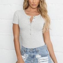 Women's Round Neck T Shirts Solid Short Sleeve Buttons Tight T-Shirt Sexy Women T-Shirt стоимость