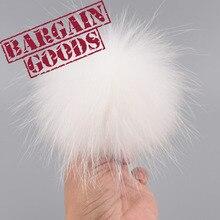 2pc 10cm Real Raccoon fur pompoms fur balls hat cap scarves children hats key chain accessories