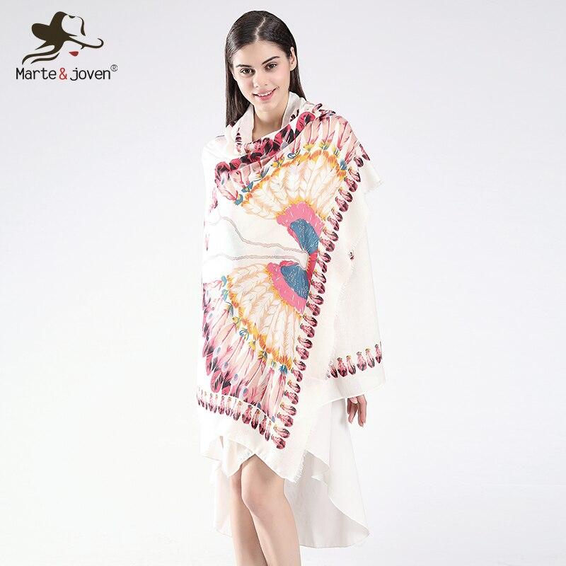 Mode Femmes Longue Écharpe de Coton Surdimensionné Paon Plume Blanc  Foulards Dames Automne Hiver Cou Écharpes Casual Châles et Wraps ec06e15dbb0