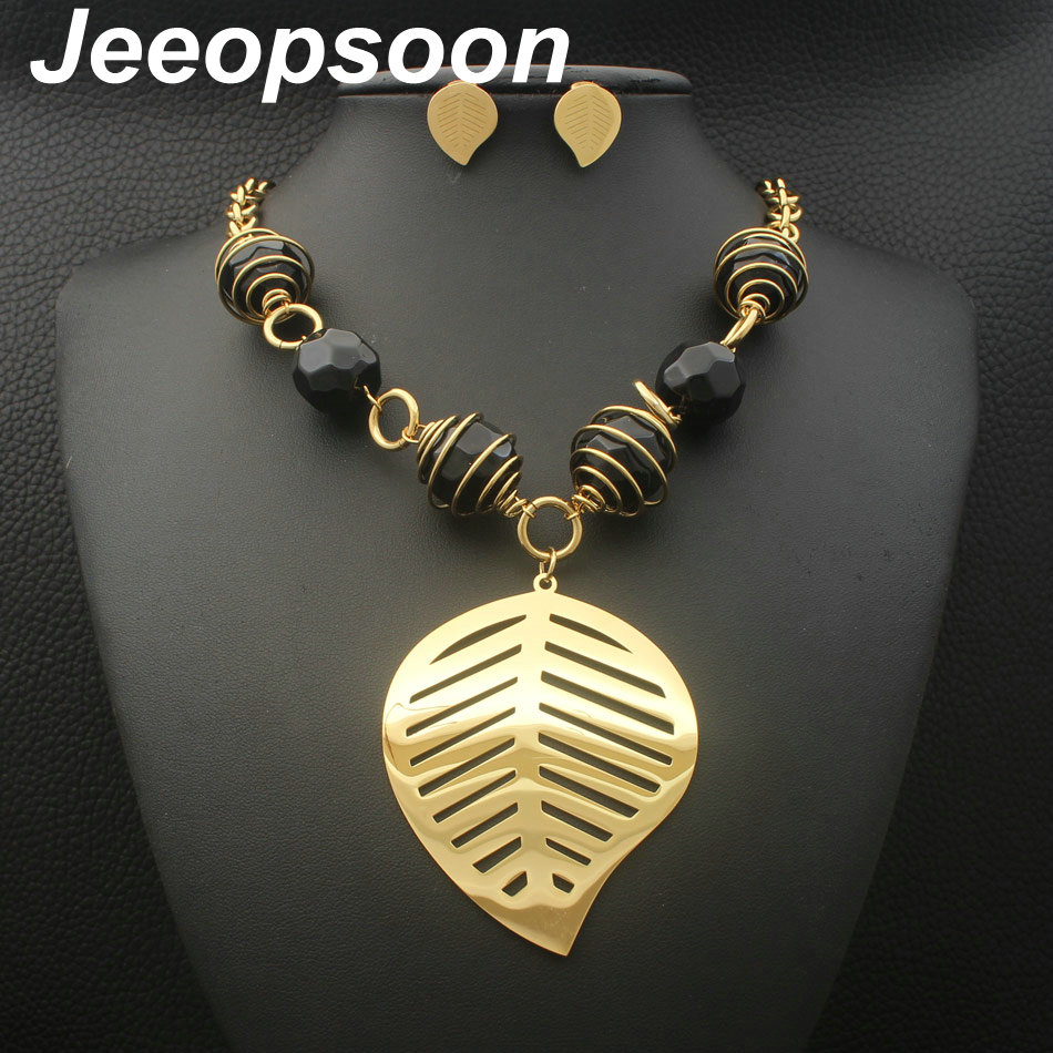 Gold Colors Stainless Steel Leaf Jewelry Necklace + earrings sets Supernova Sales for women SFGFAGCC a suit of vintage engraved leaf necklace and earrings for women