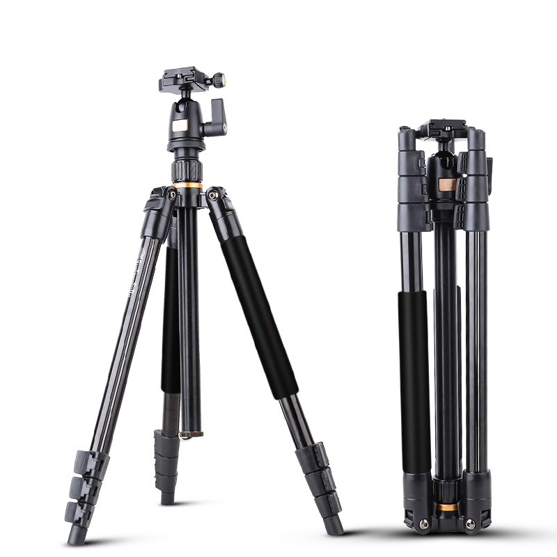 ФОТО 2016 new professional portable lightweight video  camera tripod , fold only 450mm easily to carry ,with panoramic ball head