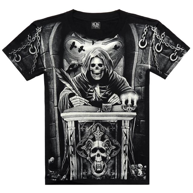 Camiseta de hombre 3D verano estilo 3D T shirt 100% algodón casual camiseta de hombre ropa de hueso patrón muerte 2015 hip hop caliente hombres de la camiseta 117