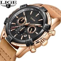 Montre Homme 2018 Luxe De Marque LIGE New Military Sport Watch Leather Antifreeze Watch Waterproof Quartz Relogio Masculino+Box