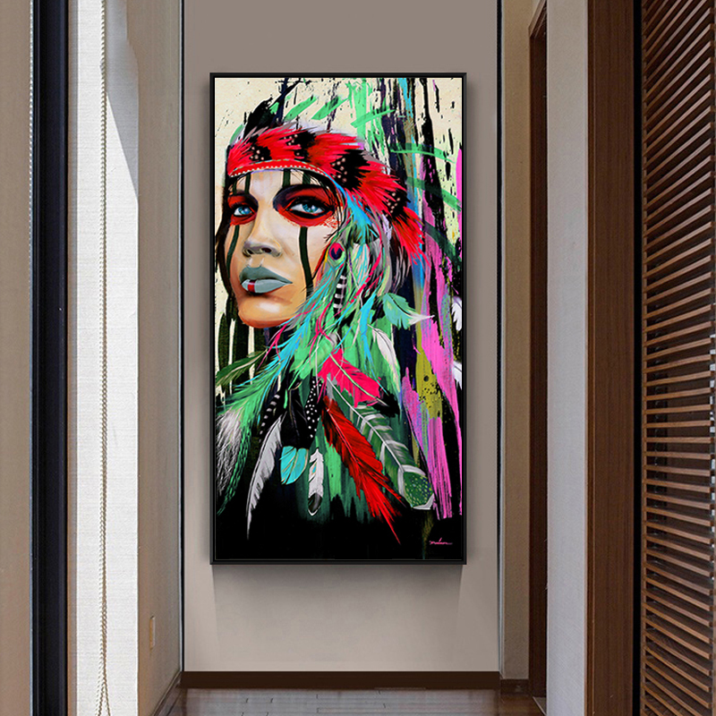 diy coloring paints by numbers Traditional classical Indians figures pictures colorings paintings  for room wall decor