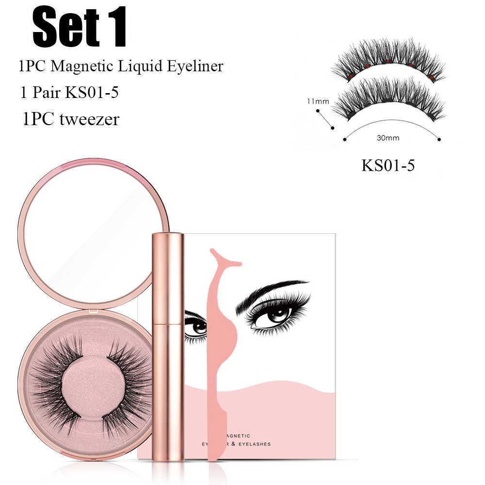 NEW Magnetic Liquid Eyeliner & 3d mink Magnetic False Eyelashes with Magnetic False Eyelashes Easy to Wear Lashes SET  TS