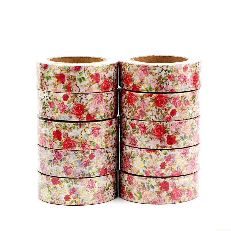 High Quality 10pcs/lot Floral Valentines Foil Washi Tapes For Scrapbooking Planner Bujo Adhesive Masking Tapes Kawaii Stationery