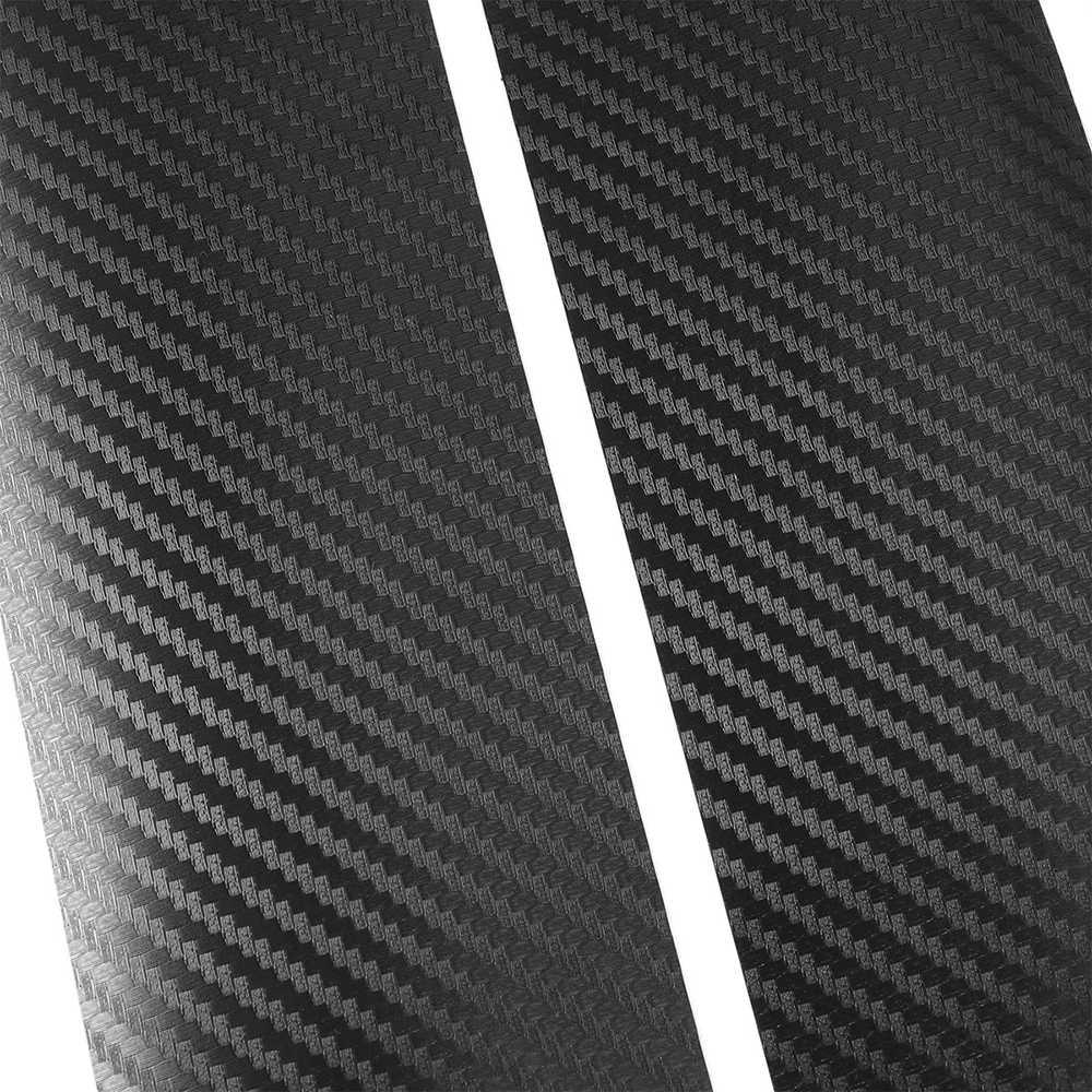 ALLOMN 4 pièces De Porte De Voiture Noire Autocollants Plaque en Fiber de Carbone Autocollant De Voiture de Seuil Couverture Anti-rayures Autocollant Universel Pour Voiture